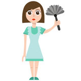 Donna di pulizia, ENV, vettore, illustrazione, isolata Fotografie Stock Libere da Diritti