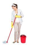 Donna di pulizie di primavera Immagine Stock