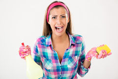 Donna di pulizie di primavera Fotografia Stock Libera da Diritti