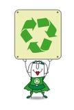 Donna di riciclaggio eccellente ed il segno di riciclaggio illustrazione vettoriale
