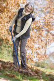 donna di riordinamento maggiore dei fogli di autunno Fotografia Stock Libera da Diritti