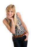Donna di risata che piega sopra Fotografie Stock