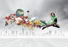 Donna di salto Immagine Stock Libera da Diritti