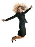 Donna di salto emozionante di affari Fotografia Stock Libera da Diritti