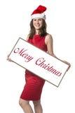Donna di Santa Claus con il Buon Natale Fotografia Stock