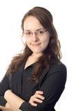 Donna di sguardo astuta di affari del attraversare-braccio Fotografie Stock