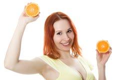 Donna di Smilling con frutta Fotografia Stock Libera da Diritti