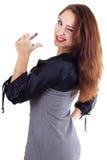 Donna di Smilling con rossetto rosso Fotografia Stock Libera da Diritti
