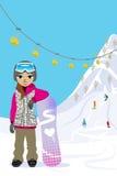 Donna di snowboard, nel pendio dello sci royalty illustrazione gratis