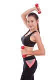 Donna di sport che fa esercizio con i pesi di sollevamento Immagine Stock Libera da Diritti