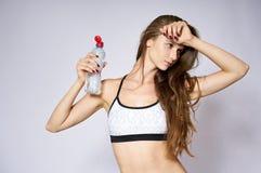 Donna di sport con acqua Fotografia Stock