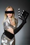 Donna di tecnologia in futuristico Fotografia Stock