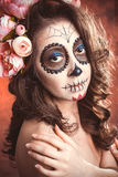 Donna di trucco di Halloween di Santa Muerte Immagine Stock