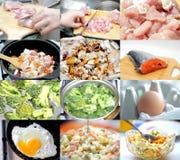 donna di vettore della preparazione della cucina dell'illustrazione dell'alimento Insieme dell'alimento differente di immagini Fotografia Stock