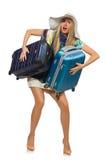 Donna di viaggio isolata su bianco Fotografia Stock