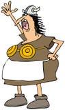 Donna di Viking con un reggiseno d'ottone Immagine Stock