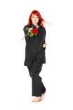Donna di Wushu con Rosa rossa Immagine Stock