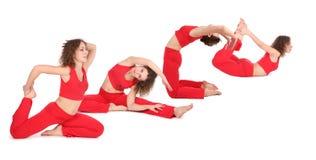 Donna di yoga che allunga forma fisica Fotografia Stock