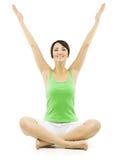 Donna di yoga, mani aperte della femmina felice sollevate su, Lotus Pose Fotografie Stock