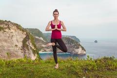 Donna di yoga Posa dell'albero Immagine Stock Libera da Diritti