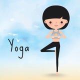 Donna di yoga sul fumetto della spiaggia Illustrazione Vettoriale