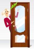 Donna dietro la porta Immagine Stock