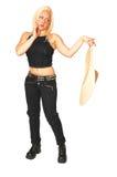 Donna diritta in jeans neri. fotografie stock