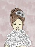 Donna disegnata a mano con il mazzo delle rose Fotografia Stock Libera da Diritti