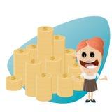 Donna divertente del fumetto con la pila di soldi Fotografia Stock
