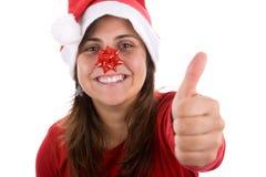 Donna divertente della Santa con il nastro nel suo radiatore anteriore Fotografia Stock Libera da Diritti