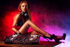 Donna DJ Fotografie Stock