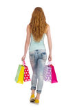 Donna dopo shopping spree Fotografie Stock