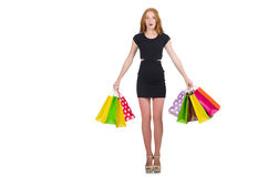 Donna dopo shopping spree Immagine Stock
