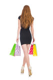 Donna dopo shopping spree Immagini Stock Libere da Diritti