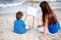 Donna e bambino Fotografie Stock