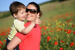 Donna e bambino felici Fotografia Stock