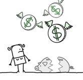 Donna e banca piggy rotta Immagine Stock Libera da Diritti