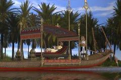 Donna e barca egiziane Immagine Stock