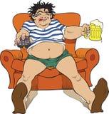 Donna e birra Fotografia Stock