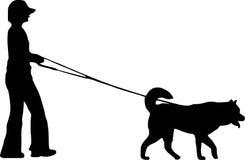 Donna e cane illustrazione vettoriale