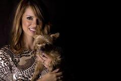Donna e cane Immagini Stock
