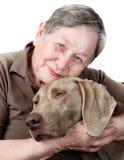 Donna e cane maggiori Fotografia Stock Libera da Diritti