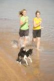 Donna e cane nel funzionamento dell'acqua Fotografia Stock Libera da Diritti