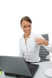 Donna e computer portatile di affari Fotografia Stock Libera da Diritti