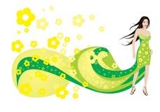 Donna e fiori gialli Immagine Stock