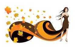 Donna e fogli di autunno Fotografia Stock Libera da Diritti