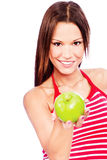 Donna e frutta immagine stock