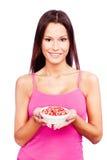Donna e frutta fotografie stock libere da diritti