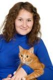 Donna e gatto Immagini Stock Libere da Diritti