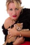 Donna e gatto Fotografie Stock